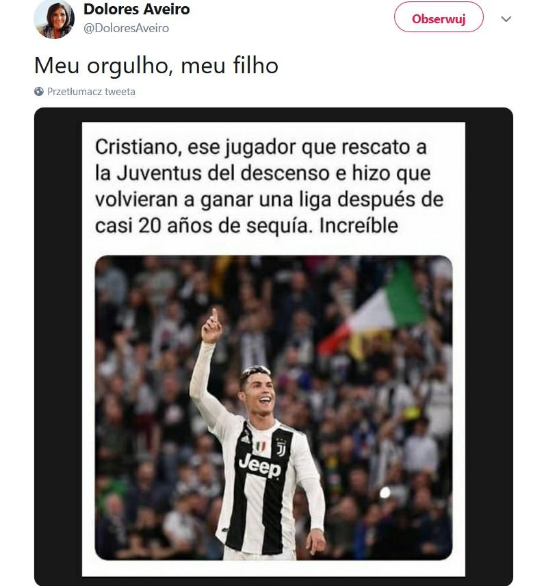 Matka Ronaldo pogratulowała synowi mistrzostwa Włoch