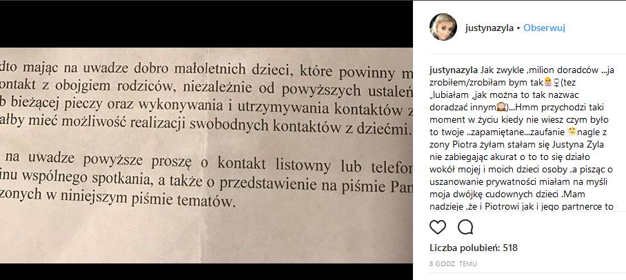 Nowy wpis Justyny Żyły na Instagramie