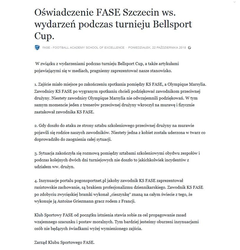Oświadczenie FASE Szczecin