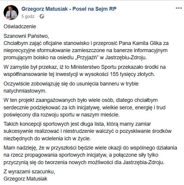 Oświadczenie Grzegorza Matusiaka