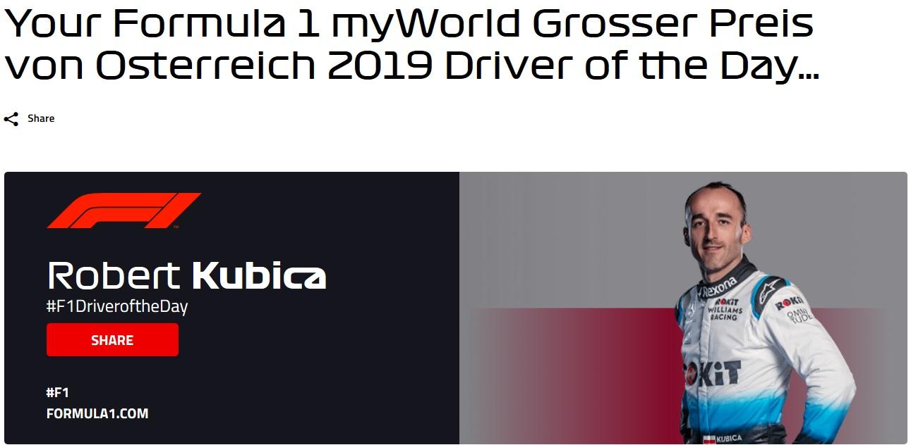 Robert Kubica kierowcą dnia w GP Austrii