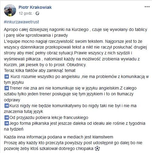 Środowisko Rafała Kurzawy tłumaczy jego problemy w Amiens