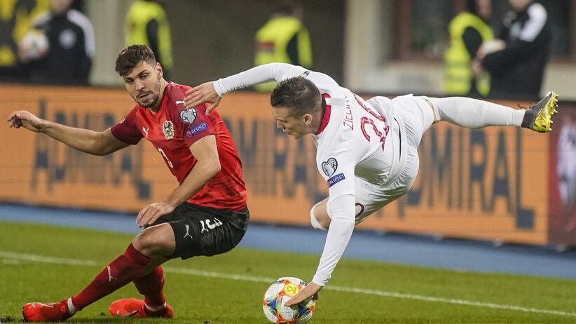 Uraz Piotra Zielińskiego w meczu Austria - Polska