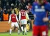 Aaron Ramsey cieszy się z gola w meczu CSKA - Arsenal
