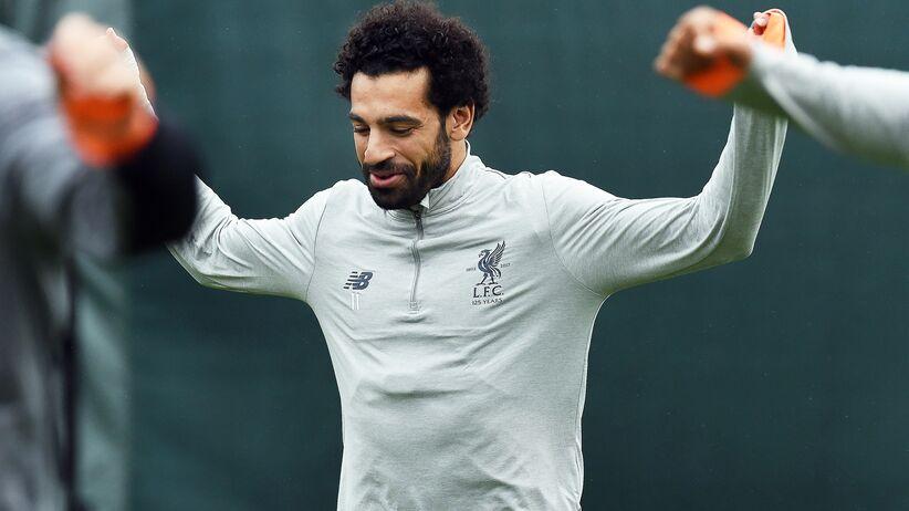 Mohamed Salah na treningu przed meczem z Romą