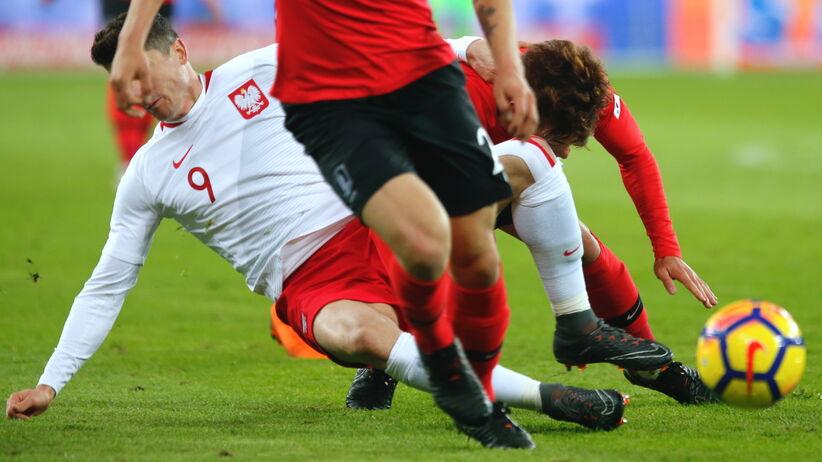 Robert Lewandowski w meczu z Koreą Płd.