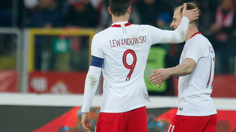 Robert Lewandowski i Kamil Grosicki na meczu Polska - Korea