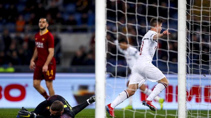 Gol Krzysztofa Piątka w meczu Roma - Milan