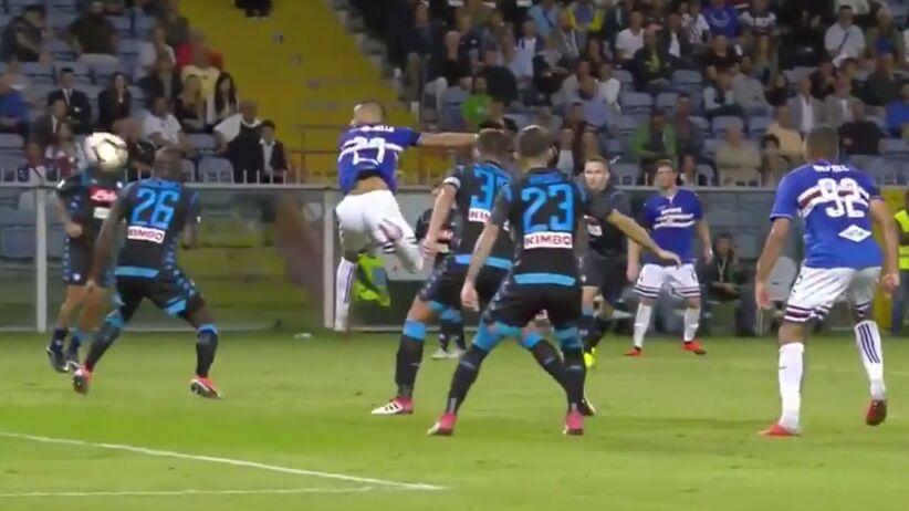 Gol Fabio Quagliarelli w meczu Sampdoria - Napoli