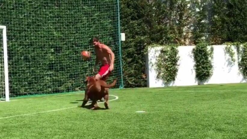 Lionel Messi trenuje z psem