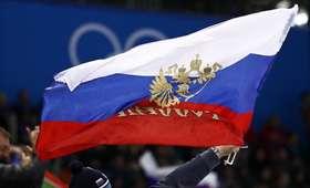 rosyjska flaga w Pjongczangu