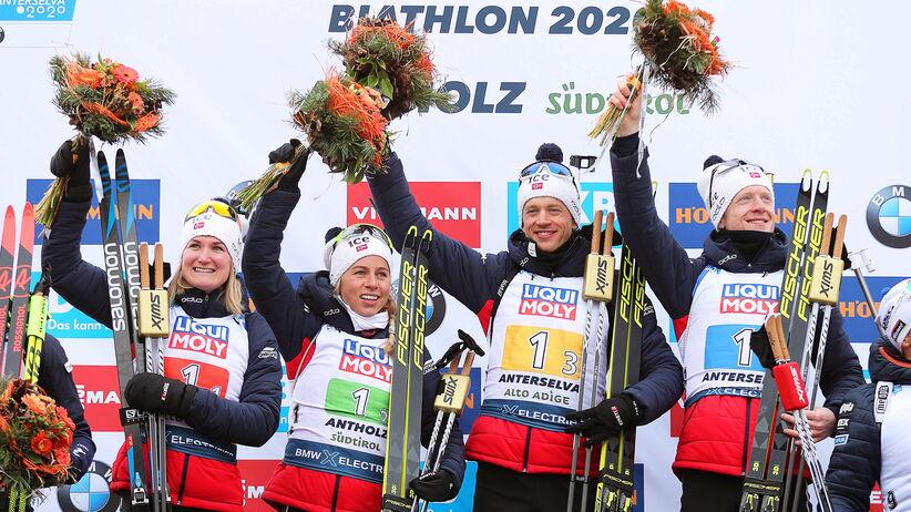 Norwegia mistrzem świata w biathlonowej sztafecie mieszanej